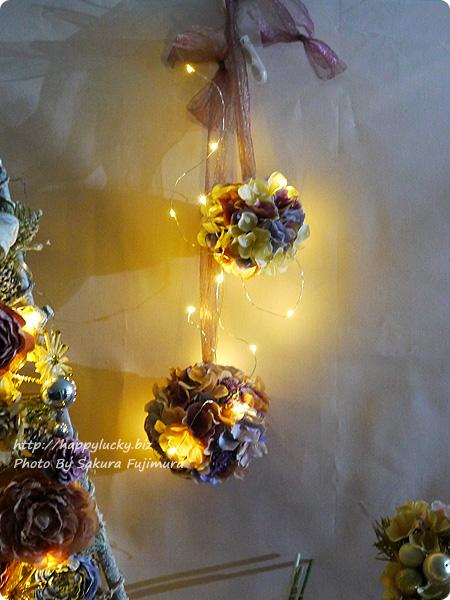 日比谷花壇 クリスマス ボールオーナメント「バルデフルール」LED点灯時