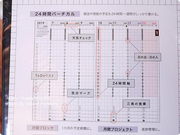 コクヨ ジブン手帳Biz mini 2019 週間バーチカルサンプル説明