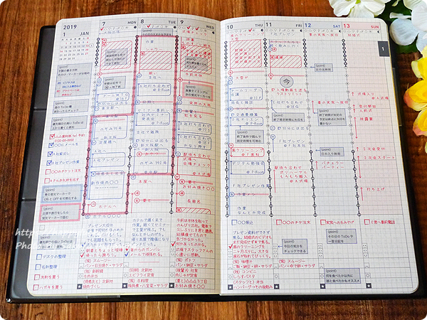 コクヨ ジブン手帳Biz mini 2019 書き方サンプル