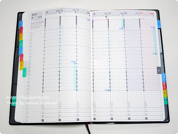 ジブン手帳Biz mini 週間カレンダーにボイドタイムの時間を記載[ラッキー手帳活用術]