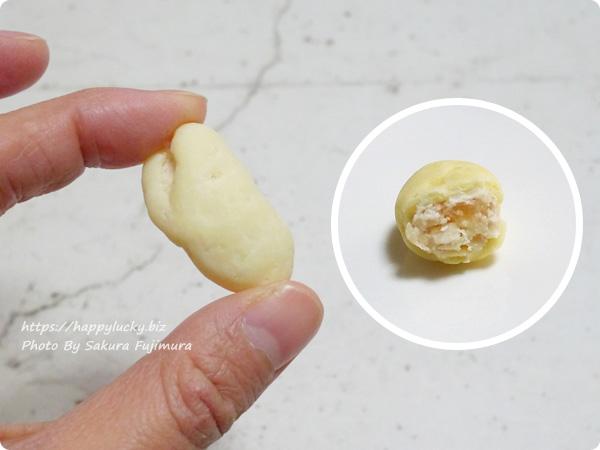 甘納豆専門店・銀座鈴屋「銀座六花」おおふくまめホワイト 1粒サイズ感と断面図
