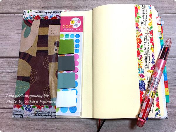 紙袋でブックカバー風手帳カバー 完成 実際に手帳を入れてみたその1