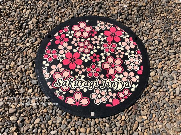 櫻木神社 マンホールも桜柄になった<千葉県野田市>