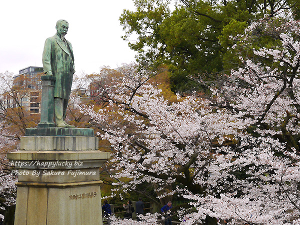 【桜2019】千鳥ヶ淵周辺 品川子爵(品川弥二郎)の銅像