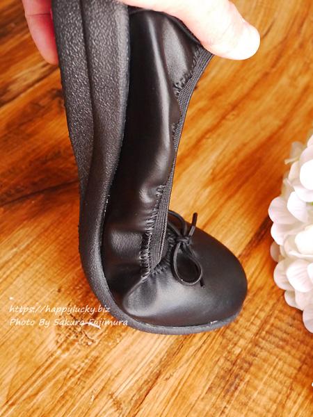 FELISSIMO(フェリシモ)超らくちんパンプス「くにゃっプス」 バレーシューズ風のリボンタイプ ブラック 足の動きにぴったりフィットするアウトソール