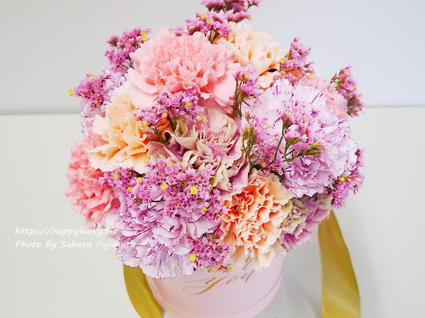 【日比谷花壇】母の日 メッセージフラワーボックス「レーヴ」女性らしい色彩の花束