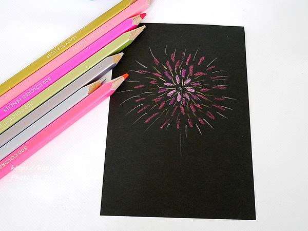 FELISSIMO(フェリシモ)「500色の色えんぴつ TOKYO SEEDS」花火を描いてみた