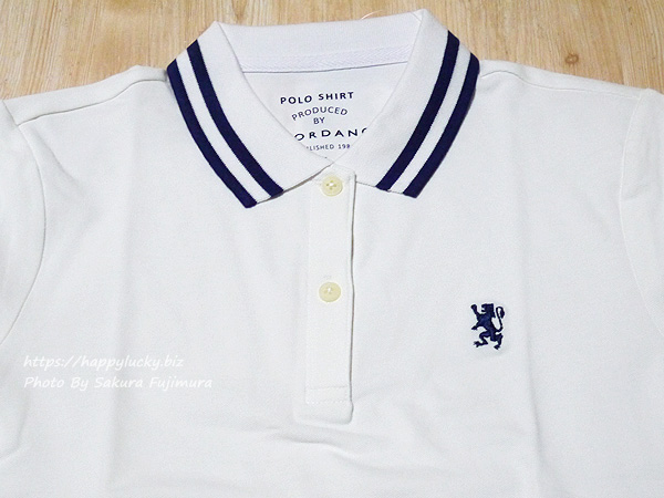 GIORDANO(ジョルダーノ)ライオン刺繍のポロシャツ(レディース)スモールライオン刺繍ポロシャツ  刺繍アップ