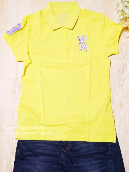 GIORDANO(ジョルダーノ)ライオン刺繍のポロシャツ(レディース)3Dライオン刺繍ポロシャツ イエロー 起き画コーデ