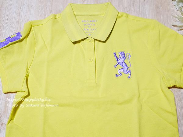 GIORDANO(ジョルダーノ)ライオン刺繍のポロシャツ(レディース)3Dライオン刺繍ポロシャツ イエロー 刺繍アップ