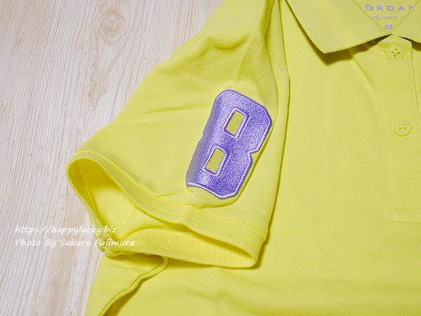 GIORDANO(ジョルダーノ)ライオン刺繍のポロシャツ(レディース)3Dライオン刺繍ポロシャツ イエロー 右肩には縁起の良い「8」のワッペン