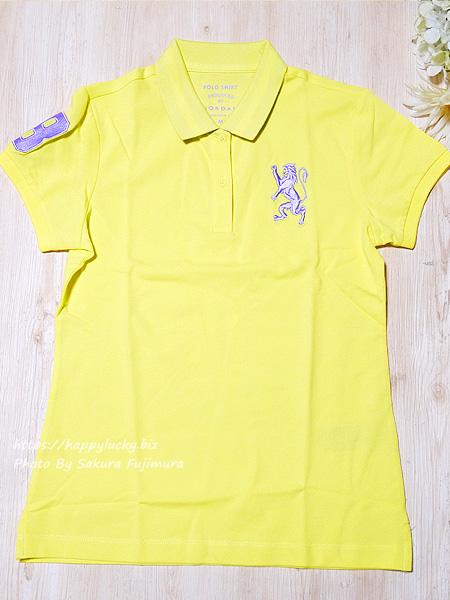 GIORDANO(ジョルダーノ)ライオン刺繍のポロシャツ(レディース)3Dライオン刺繍ポロシャツ イエロー 全体