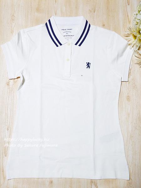 GIORDANO(ジョルダーノ)ライオン刺繍のポロシャツ(レディース)スモールライオン刺繍ポロシャツ ホワイト 全体