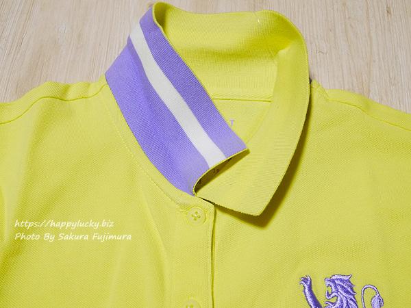 GIORDANO(ジョルダーノ)ライオン刺繍のポロシャツ(レディース)3Dライオン刺繍ポロシャツ イエロー 襟にライン入り