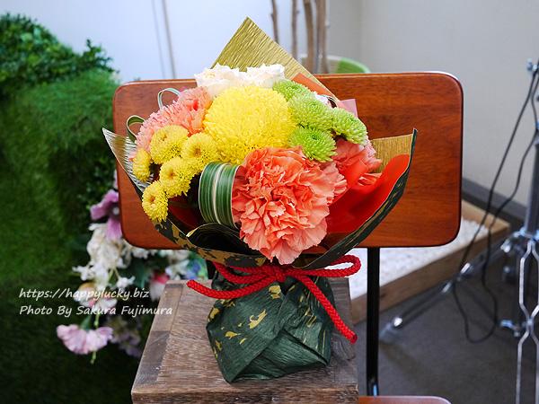 敬老の日 菓匠清閑院「雅車」とそのまま飾れるブーケのセット アレンジメントアップ