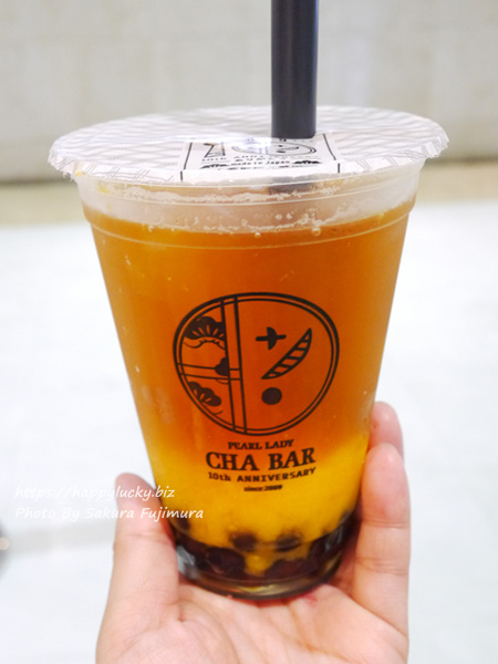 お茶専門店「PEARL LADY 茶BAR」マンゴーオレンジピューレ&アールグレイ茶 ストレート+大粒タピオカトッピング