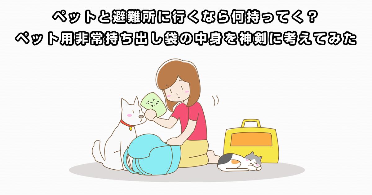 ペットと避難所に行くなら何持ってく?ペット用非常持ち出し袋の中身を神剣に考えてみた