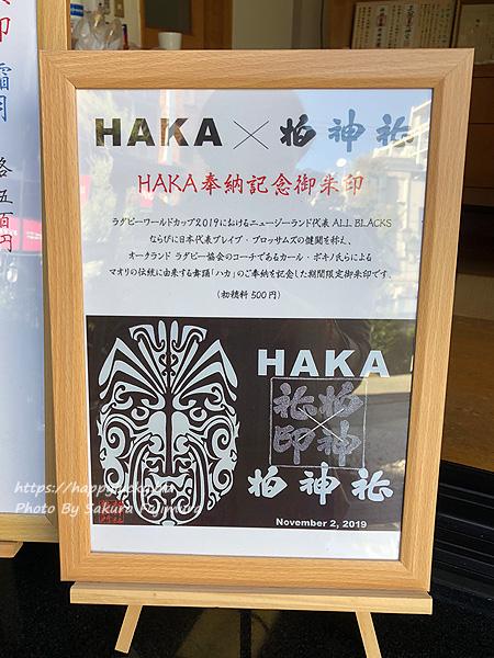 千葉県柏市 柏神社 2019年11月月替わり限定 HAKA奉納記念御朱印