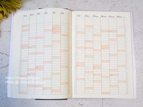 100円ショップ Seria(セリア) セリア「ガントチャートダイアリー 2021 A5(セミサイズ)2021年1月はじまり」年間スケジュール(見開き)